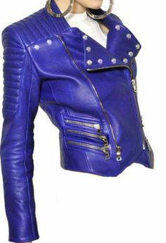 Ladies Leather Jacket With Ribbed Patterns Blue Sz XS-3XL