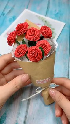 DIY Rose Bouquet Red rose ,mean passionate forever love. Use crease pattern paper to make rose bouquet. Save it , tr Diy Origami, Paper Crafts Origami, Scrapbook Paper Crafts, Paper Crafting, Diy Crafts In Paper, Paper Folding Crafts, Origami Gifts, Paper Gifts, Yarn Crafts