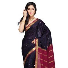 Dark Blue Pure Mysore Silk Saree with Blouse