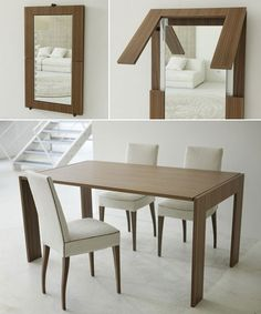 Folding table / mirror by Porada - design Pinuccio Borgonovo