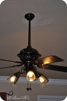 Finding My Aloha: A ceiling fan makeover by The Inspired Nest Guest Post this is my proj- Gold Ceiling Fan, Ceiling Lights, Ceiling Ideas, Painting Ceiling Fans, Paint Ceiling, Bronze Spray Paint, Ceiling Fan Makeover, Diy Fan, Do It Yourself Home