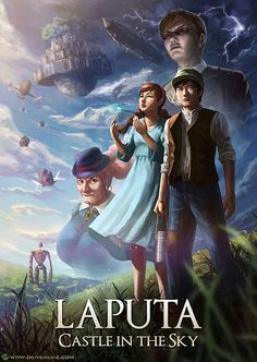 Reinvented Miyazaki movie posters: Laputa Castle In The Sky - This was one of my absolute favourites when I was tiny - sometimes I wonder why on earth my parents let me watch it, now that I think back on the violence and relatively mature subject matter. But anyway, I've still got fond memories of it.