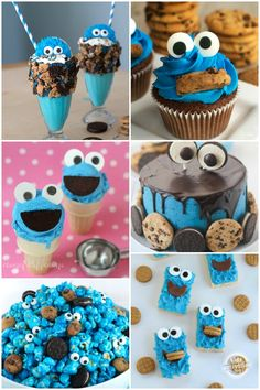 If you want to make the most epic and delicious Cookie Monster treats ever, here 15 Delicious Cookie Monster Snacks! Sesame Street Party, Sesame Street Birthday, Monster Birthday Parties, 1st Boy Birthday, Monster Snacks, Cookie Monster Cupcakes, Cookie Monster Ice Cream, Monster Baby Showers, Yummy Cookies
