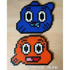 Gumball and Darwin hama beads by montse_akane
