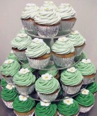 ombre cupcake tower. except blue to white