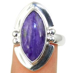 Charoite Sterling Silver Ring Jewelry Size- 7.75 SR-408 #Allisonsilverco