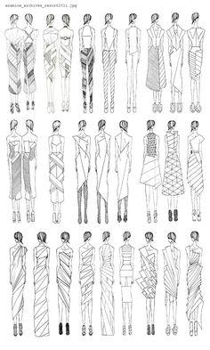 Fashion Sketchbook - geometric dress design sketches - developing a fashion collection; fashion drawings; fashion portfolio // Aramloe Nail Design, Nail Art, Nail Salon, Irvine, Newport Beach