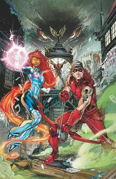 Starfire, Redhood, and Red Arrow
