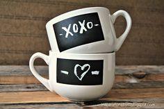DIY: chalkboard mugs