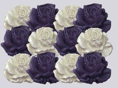 12 Purple & White Ivory Cream Sugar Roses wedding cake decorations 6 OPTIONS