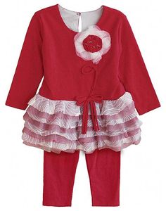 Isobella and Chloe DALLAS DOLL Red Flower Leggings Set,  elegant and feminine designs, perfect for Fall outfits or any special occasion. (sz. 2T - 4T)