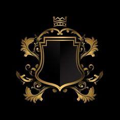 Escudo dorado sobre fondo negro vector g. Graphisches Design, Badge Design, Vector Design, Design Elements, Logo Design, Custom Design, 3d Cnc, Luxury Logo, Wedding Frames