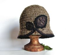TAUPE CROCHET HAT Cloche With Leaves