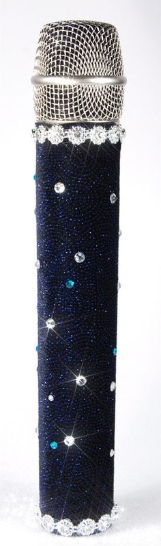 MicFX Microphone Sleeve Starry Night  Deep blue glitter material with sparkling clear and blue crystals.