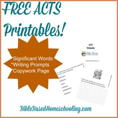 FREE Acts Printables Copywork and Writing Prompts Bible Study Lessons, Bible Study For Kids, Bible Activities, Bible Resources, Class Activities, Bible Character Study, Testament, Bible Crafts For Kids, Sunday School Lessons