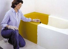 Enamel paint kit can help you get a tub or shower surround that looks new for less money—no more 80s pink tubs!