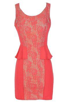 Classy Coral Lace Inset Peplum Dress