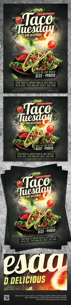 Taco Tuesday Flyer Template. Customizable professional template for a restaurant flyer. #FlyerTemplate #flyer #restaurant #GraphicTemplate #design #PrintDesign #burrito #business #cafe #cooking #food #FoodFlyer #graphic #menu #mexican #MexicanFlyer #MexicanRestaurant #mexico #muertos #party #poster #promotion #psd #taco #TacoTuesdays #tacos #tasty #template #traditional Taco Images, Food Promotion, Halloween Flyer, Mexican Tacos, Restaurant Flyer, Christmas Flyer, Envato Elements, Free Fonts Download, Taco Tuesday