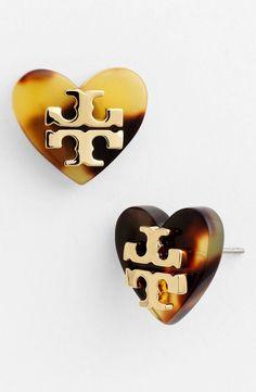 Heart Tortoise Stud Earrings