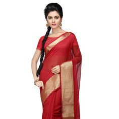 #Red Cotton and Silk Bengal Handloom #Saree with Blouse