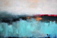 Large Original Abstract Painting Aqua Bronze Beige by AbstractArtM