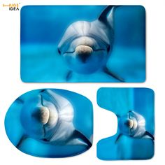 HUGSIDEA  Blue Animal Dolphin Bathroom Toilet Seat Cover  3-piece Bath Mat Rug Sets 3D Printed Soft Waterproof Contour Rugs Set