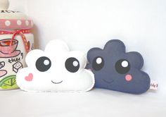 Kawaii Clouds  Cloud Soft Toys set of two by LilyRazz on Etsy, $16.00