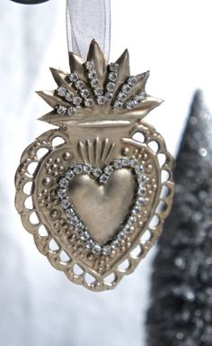 Ex voto sacred heart holiday Christmas ornament by mysweetmaison.