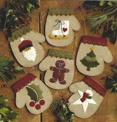 Primitive Folk Art Wool Applique Christmas by PrimFolkArtShop, $5.95