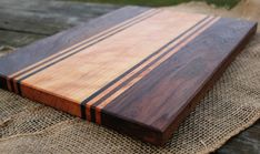 Handmade wood cutting board - walnut & cherry striped serving board cheese plate wedding gift kitchen gift for cook custom size woodworking Intarsia Woodworking, Woodworking Box, Woodworking Patterns, Woodworking Techniques, Woodworking Furniture, Woodworking Projects, Popular Woodworking, Woodworking Beginner, Woodworking Classes