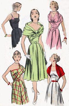 1950s fashion sewing pattern illustrations.