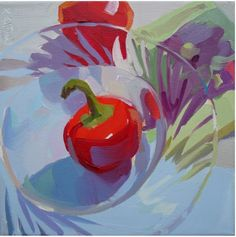 peppers, red, glass, light, still life, movement