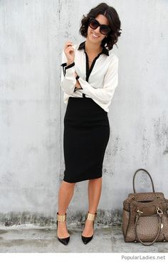 Cool black and white office look