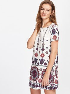 7d7dbd26dfe6 Mandala Print Short Sleeve Dress -SheIn(Sheinside) Mandala Print, Short  Sleeve Dresses