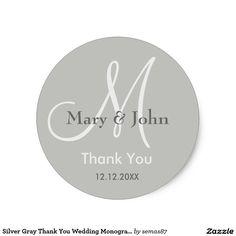 Silver Gray Thank You Wedding Monogram Seal Classic Round Sticker