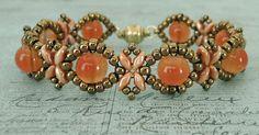 Linda's Crafty Inspirations: Bracelet of the Day: Sunflower Bracelet - Tangerine Beaded Braclets, Beaded Bracelet Patterns, Bracelet Designs, Beaded Earrings, Jewelry Crafts, Handmade Jewelry, Super Duo Beads, Twin Beads, Bead Earrings
