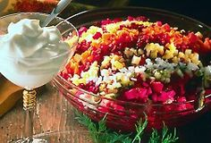 Rosolli salad is Christmas food. It's made of beets, carrots, potatoes, onions, apples, pickles, Sauce: whipping cream, white vinegar, salt, sugar