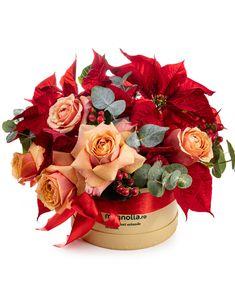 """Spune-le celor dragi """"Crăciun fericit!"""" cu acest aranjament în nuanțe de portocaliu și roșu. Cadoul tău va fi ca o îmbrățișare caldă pentru cei pe care nu poți să îi vizitezi de Crăciun. Aranjat într-o cutie rotundă, aranjamentul conține trandafiri portocalii, Euphorbia, Hypericum și crenguțe parfumate de eucalipt. Magnolia, Fragrance, Magnolias"""