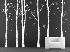 vinyl wall decal birch tree wall decals for Nursery by stickershut, $68.00