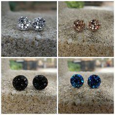 Druzy Earrings Set of 4 Black Druzy 8MM by SouthernStitchesCo