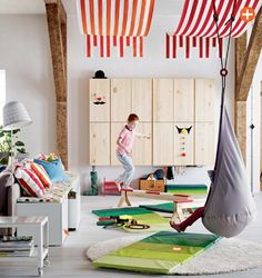 playroom with striped fabric canopies Styling Tricks To Steal From The IKEA 2015 Catalog Ikea 2015, Ikea Kids Room, Kids Bedroom, Kids Rooms, Ikea Playroom, Bedroom Sets, Ikea Catalogue 2015, Ikea Usa, Kids Room Design