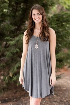 Fall Fashion, Fall Dress, Tank Dress, OOTD- Your 'Go-To' Tank Dress-Charcoal by Jane Divine Boutique www.janedivine.com