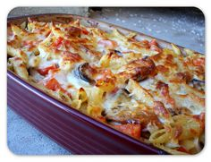 Baked Pasta with Eggplant, Tomatoes, and Sausage