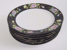 Noritake Nippon Morimura Bread Plate Pink Floral Black Band 6-1/2 Lot of 7 #Noritake #Asian