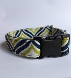 Navy, Green, and Cream Dog Collar Handmade