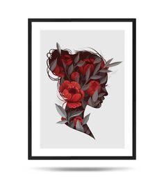 With flowers, Fine Art Print, Matte, digital illustration Digital Illustration, Fine Art Prints, My Arts, Flowers, Etsy, Art Prints, Royal Icing Flowers, Flower, Florals