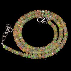 """54CRTS 4to6MM 18"""" ETHIOPIAN OPAL FACETED RONDELLE BEADS NECKLACE OBI1716 #OPALBEADSINDIA"""