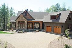 Paint combo - Gray and stone-Front Exterior of The Solstice Springs - House Plan Number 5011 Café Exterior, Rustic Exterior, Craftsman Exterior, Modern Farmhouse Exterior, Exterior House Colors, Exterior Design, Craftsman Style, Exterior Paint, Farmhouse Style