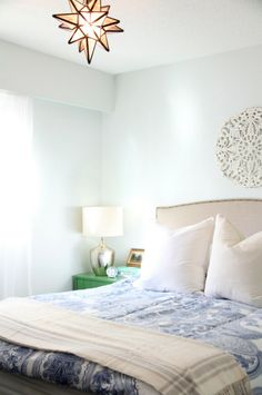For our bedroom - wall colour, headboard and light fixture