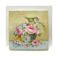 Birds & porcelain collection. Crown Blue Tit, rose bouquet and Limoges tea cup with violet design Original oil painting by H. Flont